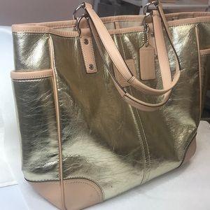 Coach Gold Rare Metallic Leather Tote Bag